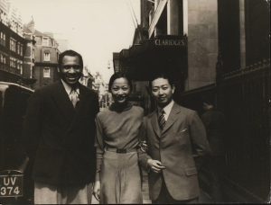 Paul Robeson, Anna May Wong and Mei Lanfang outside Claridges Hotel, London 1935